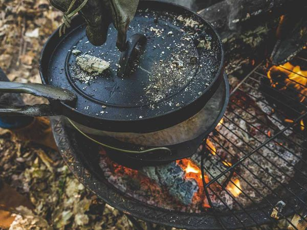Cooking in cast iron dutch oven