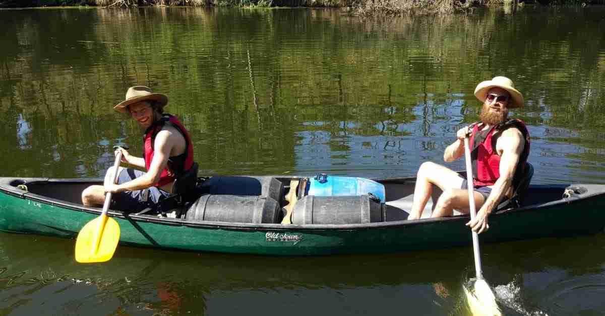 Tom and Guy canoeing Glenelg River