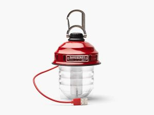 Red Hanging Lantern - Barebones Beacon Camping Light with USB Charger Cord