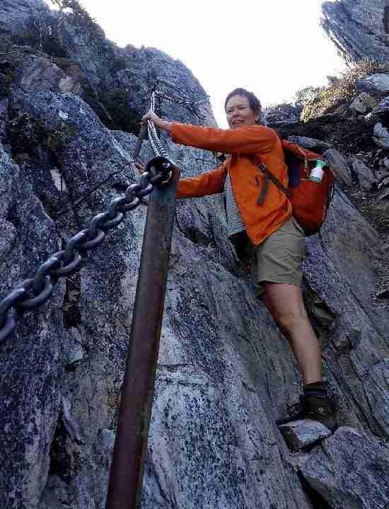 Anneka climbing Cradle Mountain sml