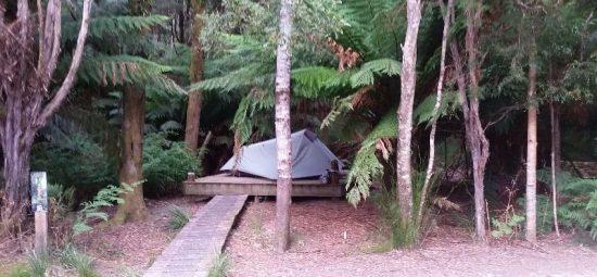 Tent set up on platform at Corinna Campground