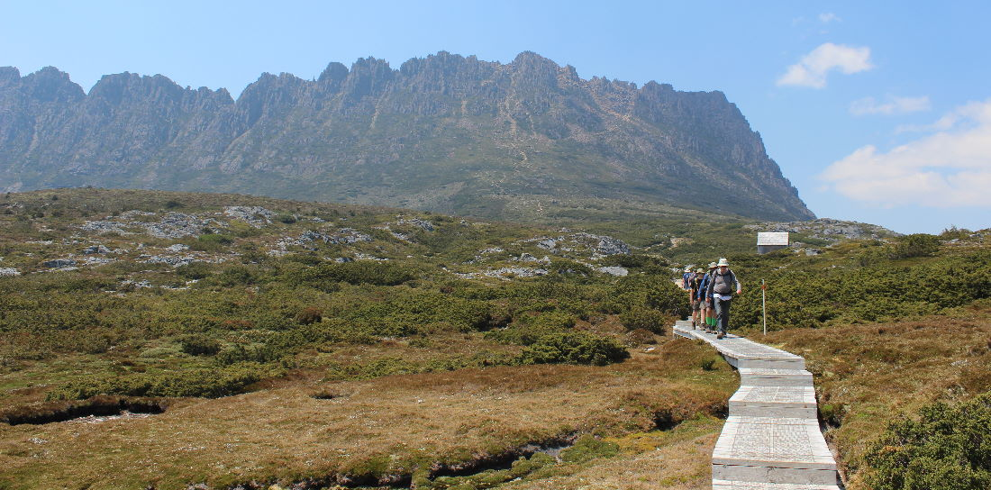 Frans and co walking beneath Cradle Mountain