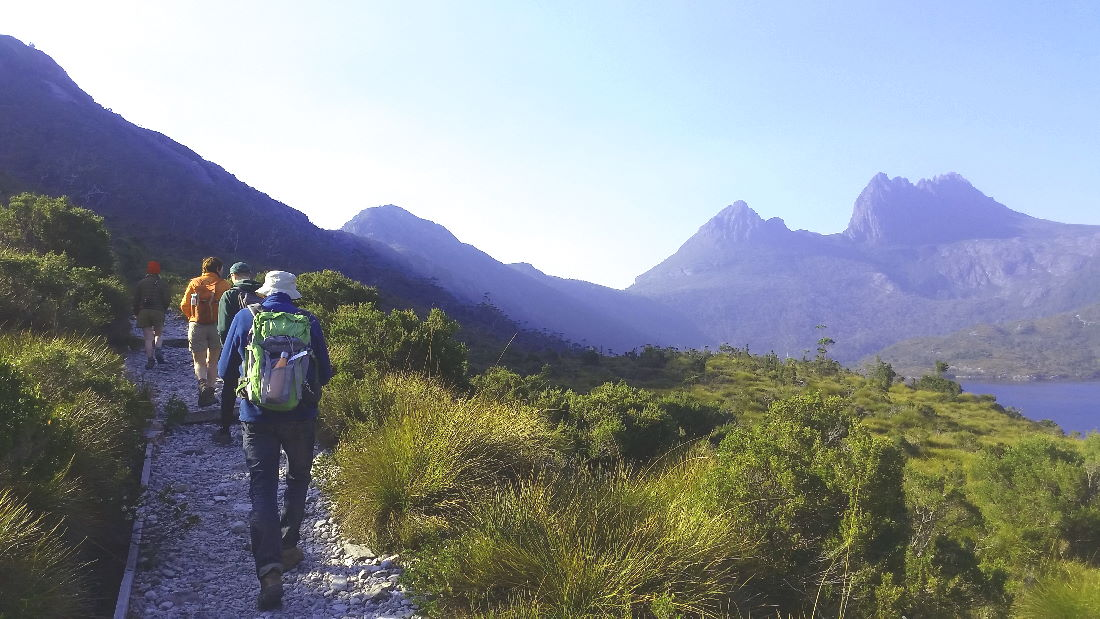Frans going around Dove Lake at Cradle Mountain