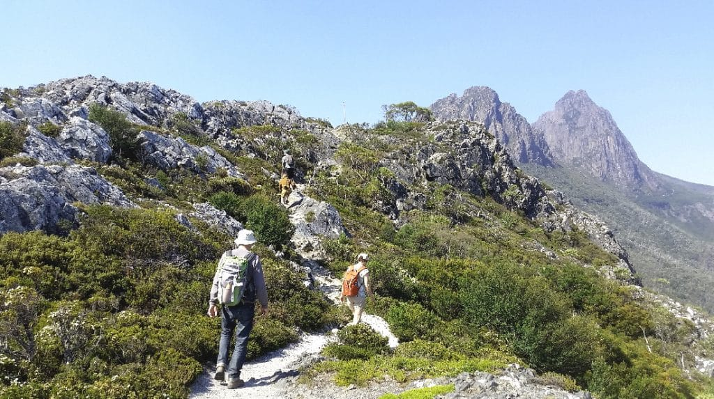 Eva's family hiking Cradle Mountain