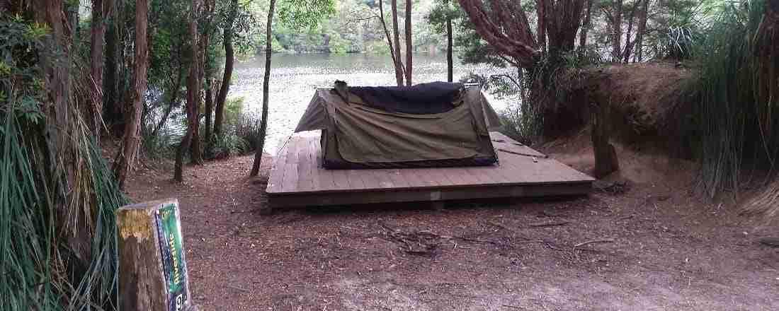 Swag on camping platform at Corinna Campground