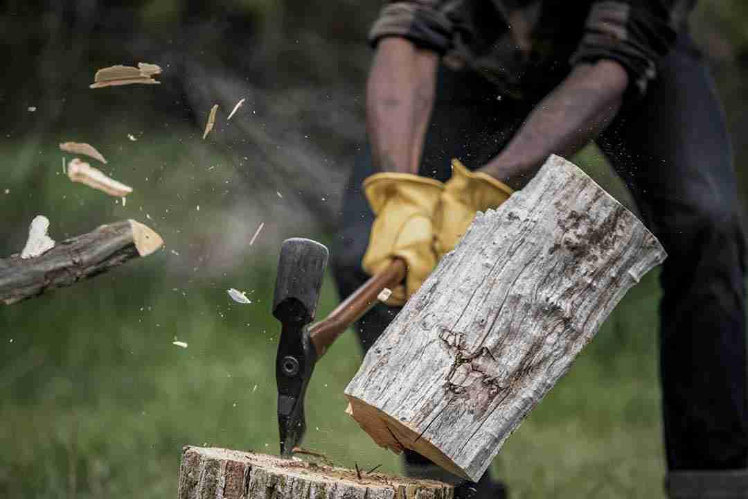 Camping Axe cutting wood