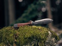 Double Edge Camping Knife on mossy rock