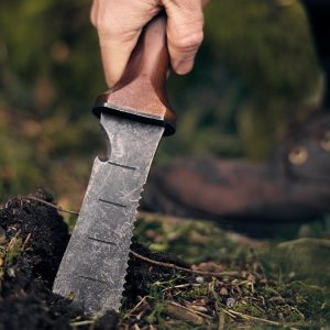 Double Edge Camping Knife in use