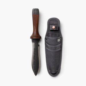Double Edge Camping Knife next to sheath