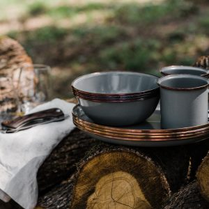 Enamel camping bowls in use