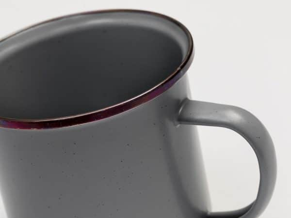 Enamel camping cup close up