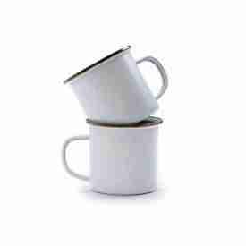 Premium white enamel mugs