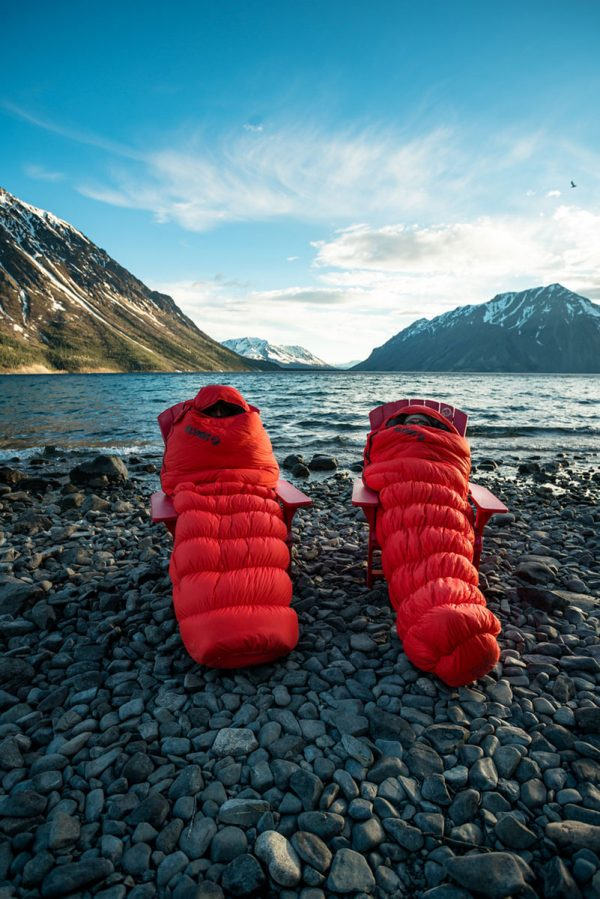 Two -7˚Celsius Hiking Sleeping Bags infront of lake