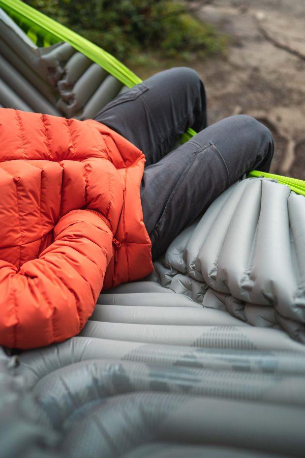 Man laying on Hammock Sleeping Pad