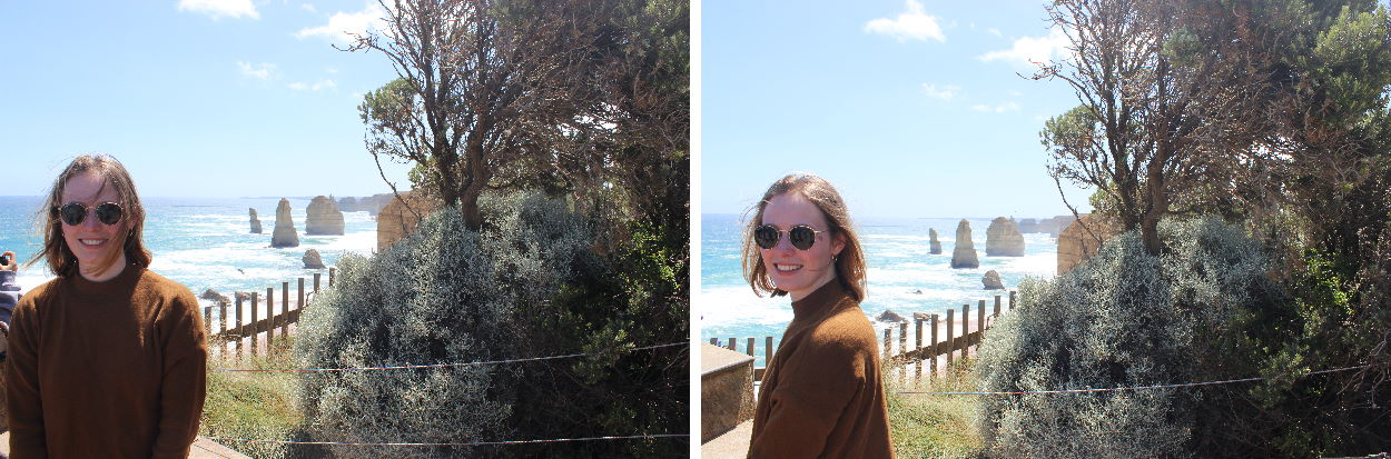 Eva getting a photo infront of the 12 Apostles