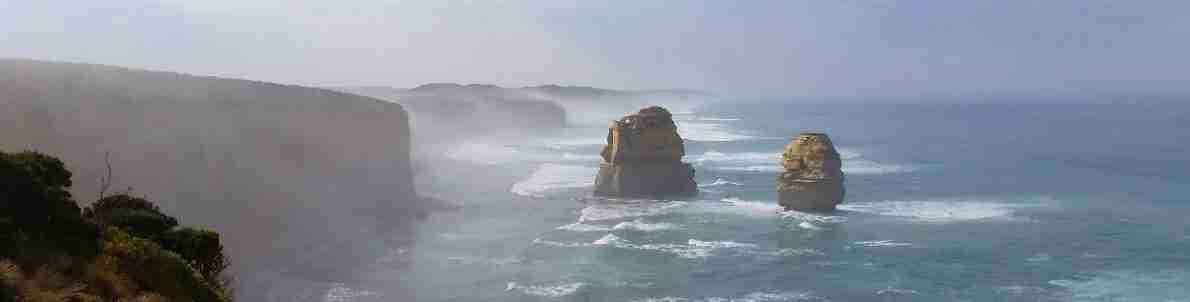 Gog & Magog covered in fog on the Shipwreck Coast