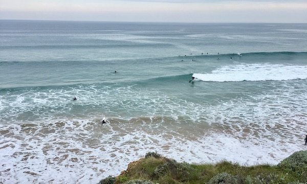 Surfers at Bells Beach on the Great Ocean Road