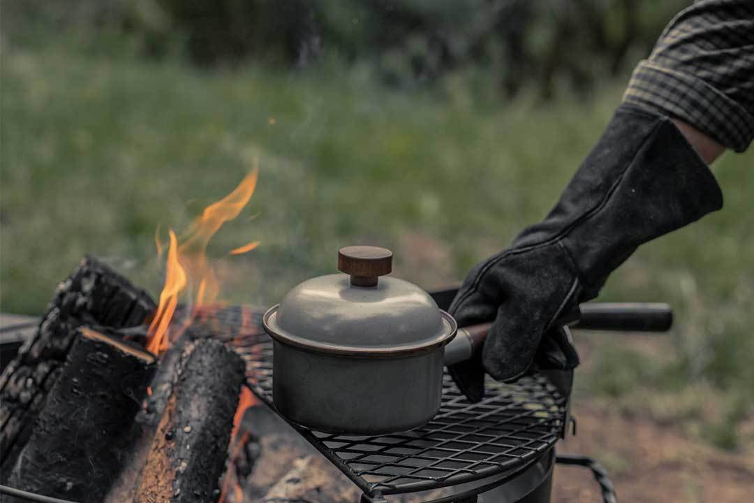 Enamel Saucepan on the grill