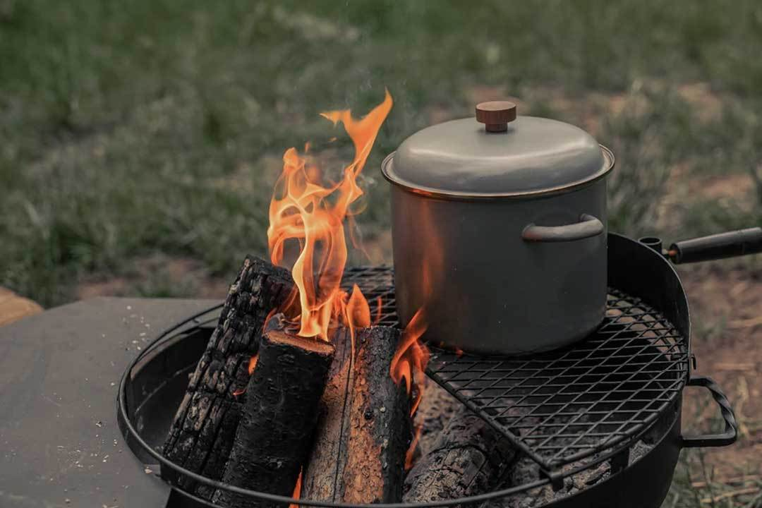 Enamel Stock Pot on grill