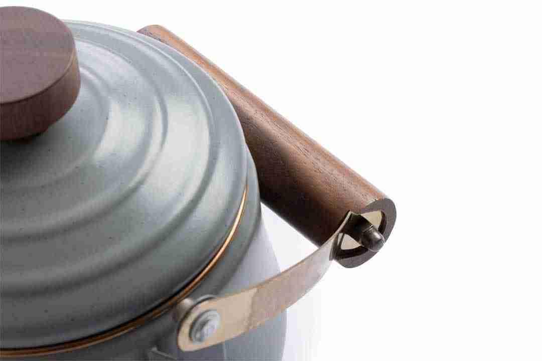 Enamel Teapot hardwood handle and stainless steel rim