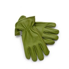 Olive Green Cowhide Leather Gloves