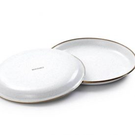 Small White Enamel Plates turnedover