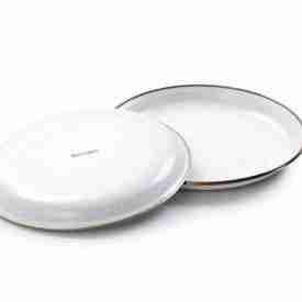 Small White Enamel Plates turnedover
