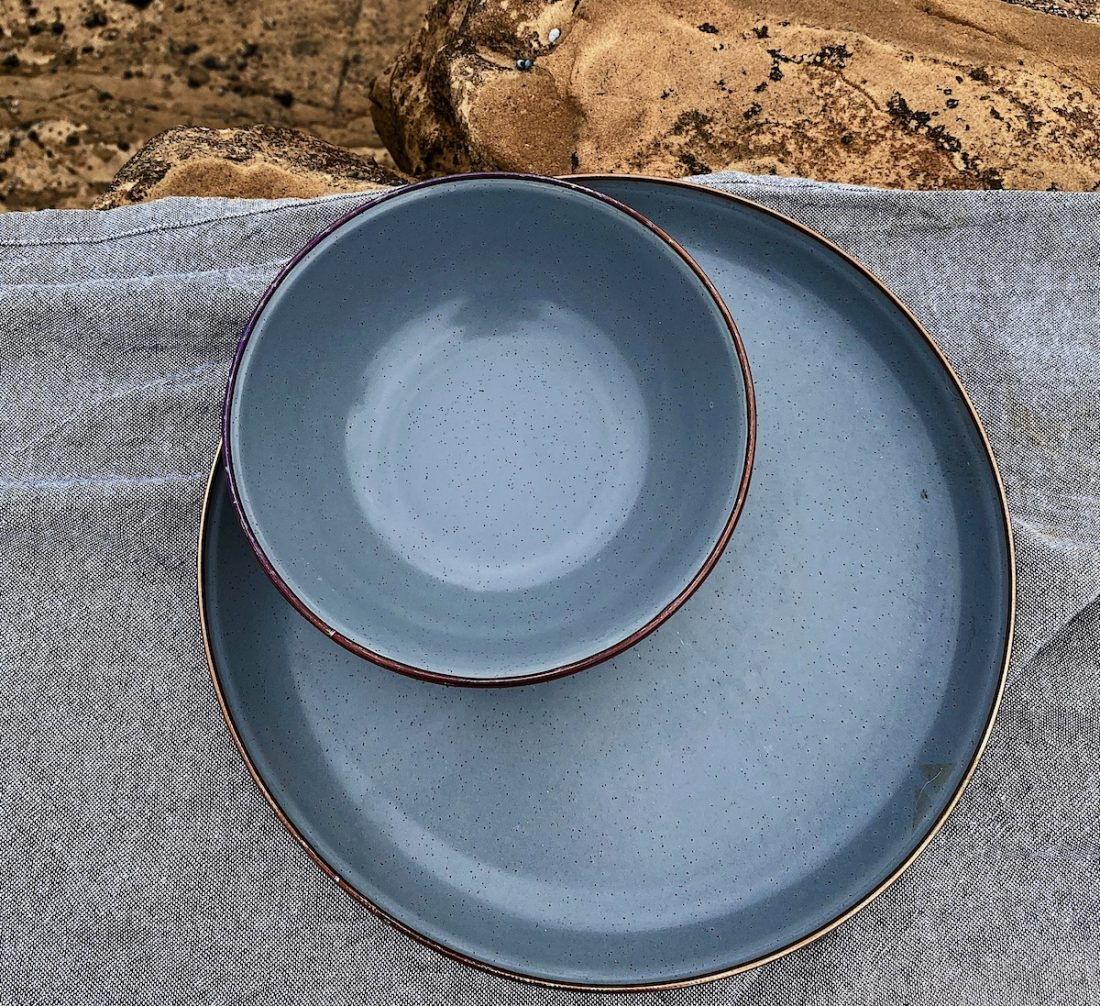 Enamel Plate and bowl set