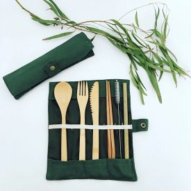 7 Piece Bamboo Cutlery Set in case