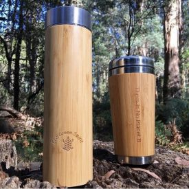 Bamboo Coffee Cup and Thermos Set