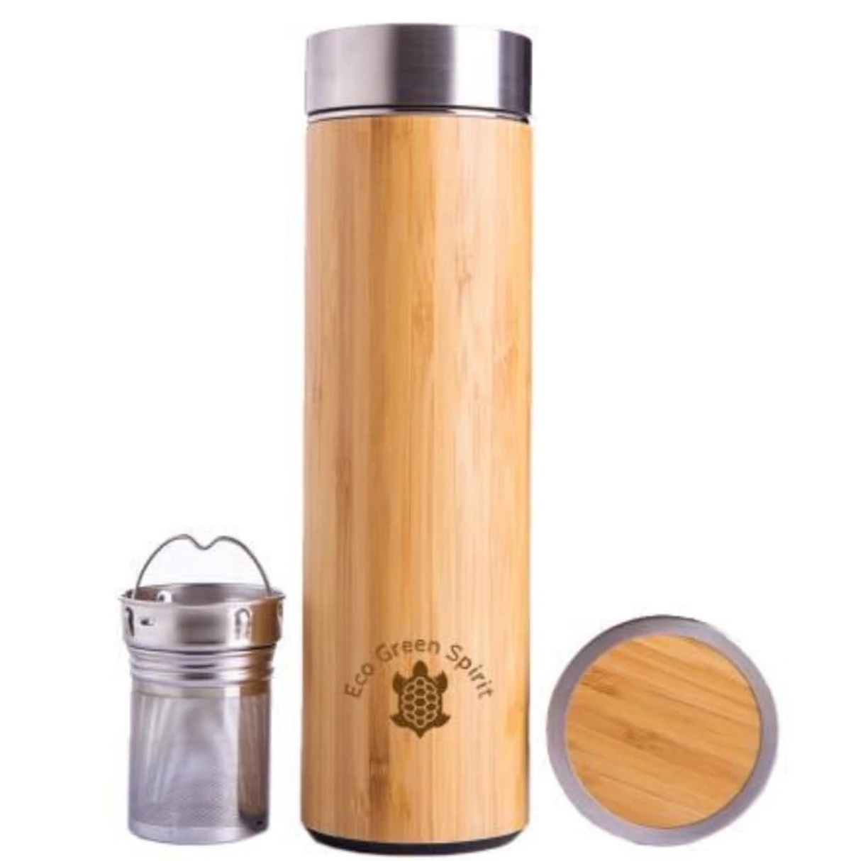 Bamboo Insulated Thermos and Strainer