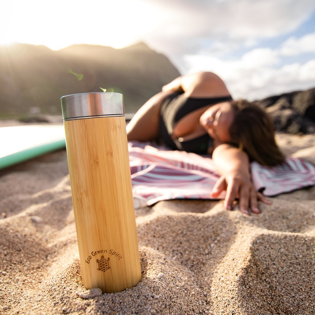 Bamboo Insulated Thermos at the beach