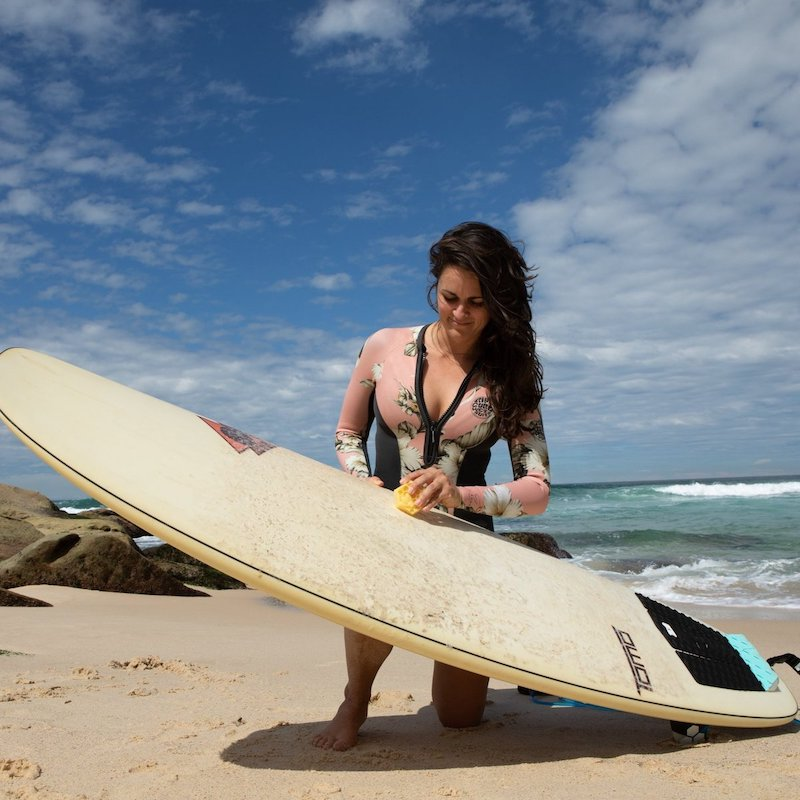 Eco Friendly Surf Wax being used