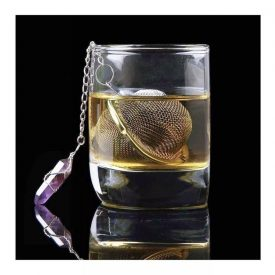 Handmade Tea Infuser with Hanging Amethyst Crystal Point