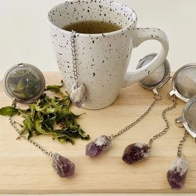 Handmade Tea Infuser with Hanging Amethyst Rough Crystal