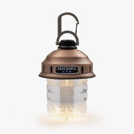Copper Beacon Hanging Camping Lantern turned on