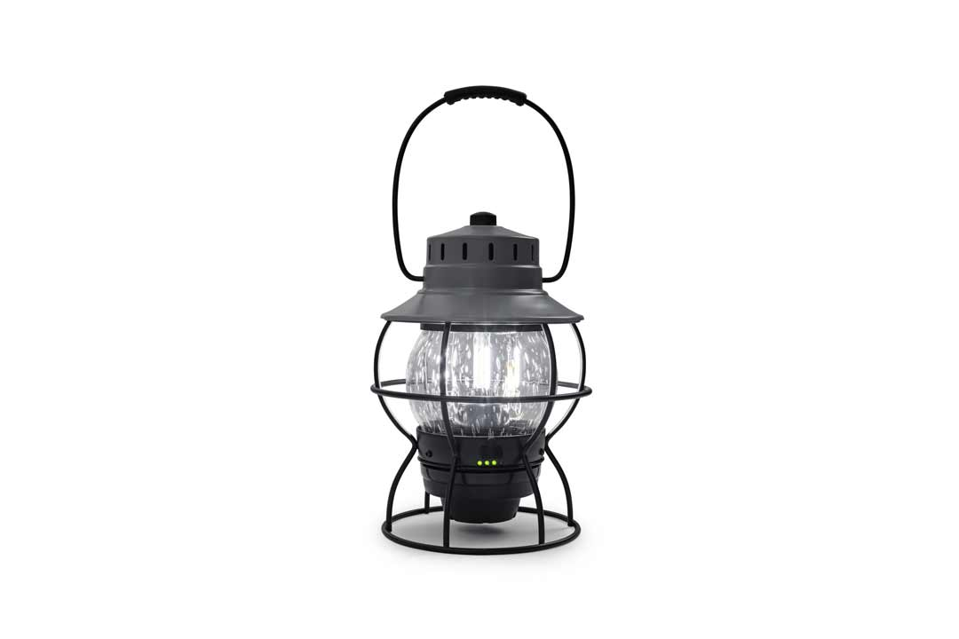 Slate Grey Stainless Steel and Glass LED Lantern