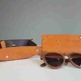 Burnt Orange and Dark Brown Vegan Leather Glasses Case
