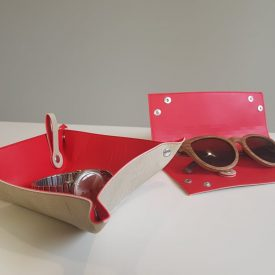 Red and Beige Glasses Case Open