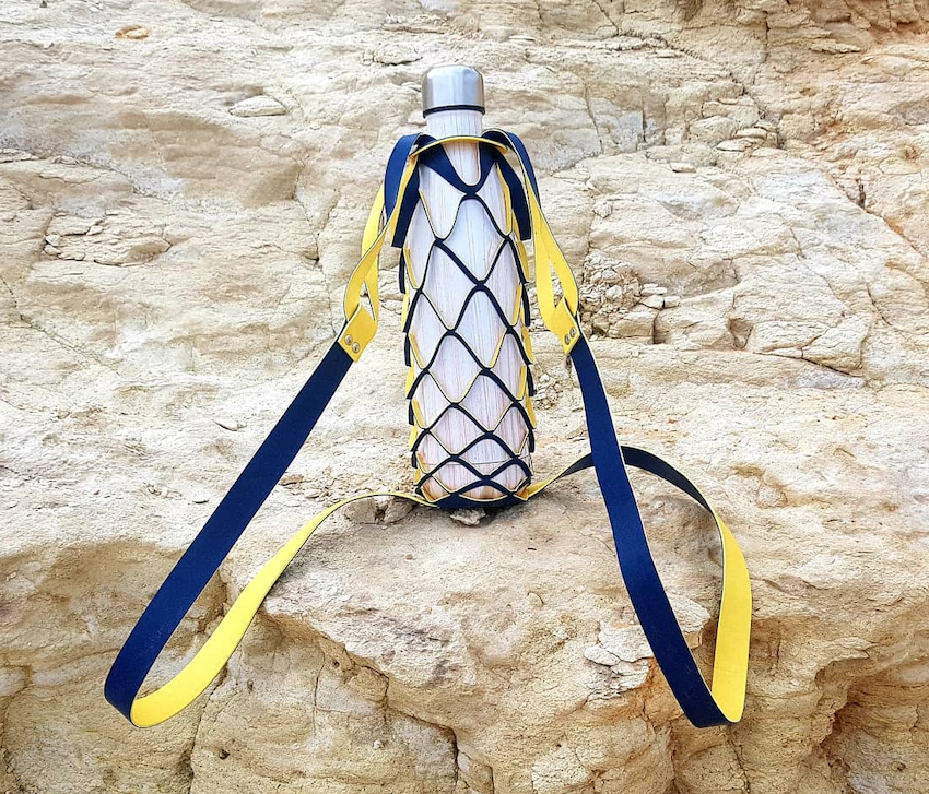 Yellow and Blue Bottle Bag