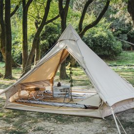 Cotten tent in forest